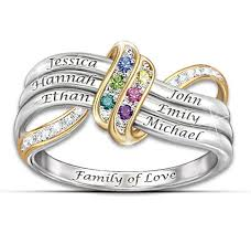 rings with birthstones and names family of mothers birthstone infinity ring with names