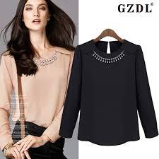 Black Blouses For Work Online Shop 2016 Women Chiffon Blouse Spring Autumn Long Sleeve