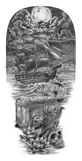 pirates u0026 the lost treasure full sleeve tattoo design cris