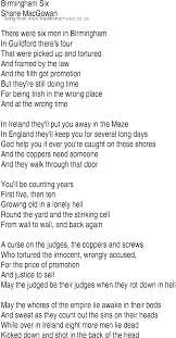 Their They Re There Worksheet Irish Music Song And Ballad Lyrics For Birmingham Six