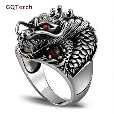 rock silver rings images Authentic 925 sterling silver dragon rings for men with garnet jpg