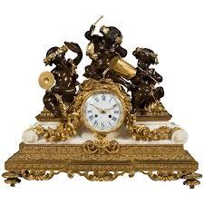 Mantel Clocks Antique Antique French Mantel Marble Bronze Clock Set Candelabras Pradier