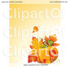 clipart of a thanksgiving background with a pumpkin and autumn
