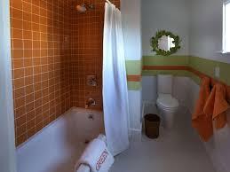 bathroom faux tile wall mural creates a fun focal point in the full size of bathroom stunning kids bathroom ideas with orange ceramic wall also white bathtub
