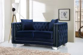 chesterfield sofa in fabric reese navy sofa 648 meridian furniture fabric sofas at comfyco com