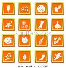 orange spice color spice icons set orange color isolated stock vector 699744940