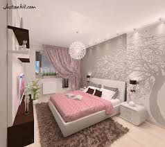 combination colour bedroom with pink and grey and floral tree