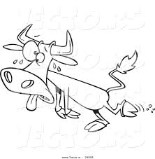 vector of a cartoon sweating cow outlined coloring page by