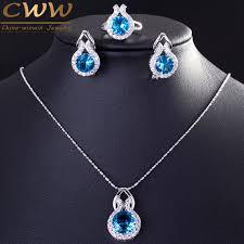 aliexpress crystal necklace images Cwwzircons brand 925 sterling silver jewelry fashion light blue cz jpg