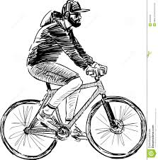 person on bike drawing man riding a bicycle royalty free stock