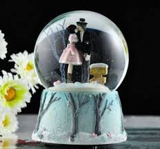 wedding box musical snow globes