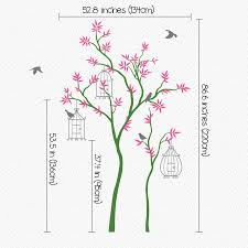 thin trees with birdcages wall sticker by wall