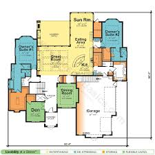 home plans with in suites house plans with two owner suites design basics