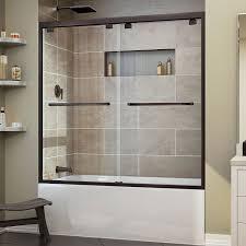glass shower door for bathtub dreamline encore 56 60 in width frameless bypass sliding tub