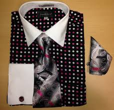 men u0027s fashion multi xtreme polka dot cufflink dress shirt set