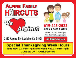extended open hours for thanksgiving week at alpine family