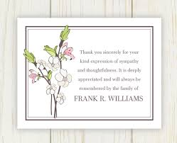 sympathy thank you cards cherry blooms funeral thank you card digital file sympathy