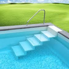 pool treppe leiter eleganz 60 5 stufig zur wandbefestigung weiß - Pool Treppe