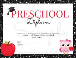 preschool certificates instant preschool graduation diploma for girl