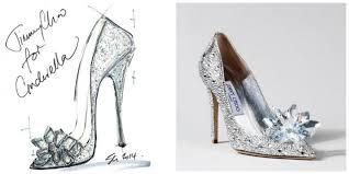 enchanted affair shoe designers sketch cinderella u0027s glass shoe