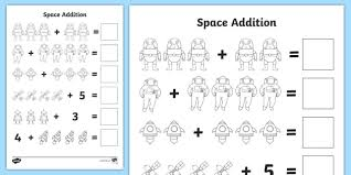 space addition with pictures worksheets worksheets worksheet