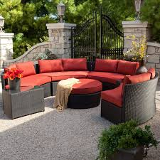 Curved Wicker Patio Furniture - belham living meridian round outdoor wicker patio furniture set