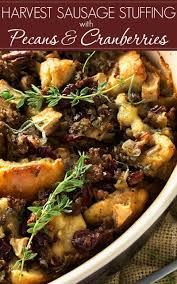 bread stuffing thanksgiving harvest sausage stuffing with pecans and cranberries the chunky chef
