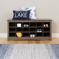 Entryway Shoe Storage Bench Amazon Com Prepac 18 Cubby Shoe Storage Bench In Drifted Gray