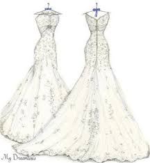 sketch of front u0026 back of wedding dress one year by dreamlines
