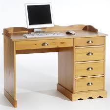 bureau pin miel bureau colette avec rangement 5 tiroirs et corniche en pin massif