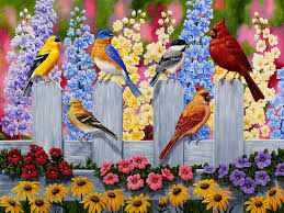 bird painting spring garden party painting by crista forest