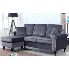 velvet sectional sofa traditional small space velvet sectional sofa with reversible