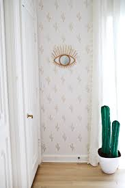 gold cactus wallpaper diy done with a marker home interior
