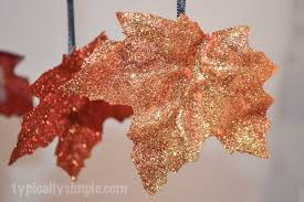 thanksgiving ribbon glittered fall leaves diy typically simple