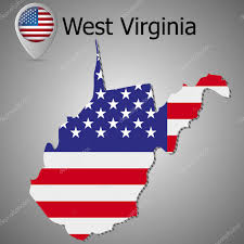 State Flag Of Virginia West Virginia State Map With Us Flag Inside And Map Pointer With
