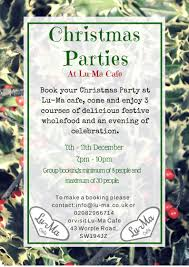 christmas parties at lu ma luma restaurant