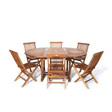 Teak Patio Dining Table Shop All Things Cedar 7 Brown Wood Frame Patio Dining Set At