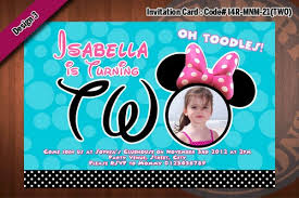 minnie mouse invitations two years old birthday photo invitation