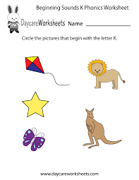 free beginning sounds letter k phonics worksheet for preschool