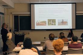 alumnae speak to students about careers in earth and environmental