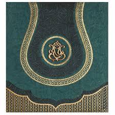 hindu wedding card in spring green and antique golden wedding