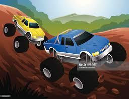 two cartoon monster trucks racing on dirt track vector art getty