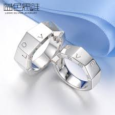 engraved wedding rings blue sweet rings faceted flat wedding rings with diamond