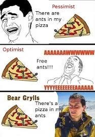 Man Vs Wild Meme - pessimist optimist bear grylls meme collection