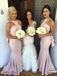 pink bridesmaid dresses pink backless t neck fitted jersey bridesmaid