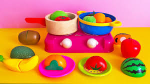 Plastic Toy Kitchen Set Soup Cooking Toy Velcro Slicing Fruits And Vegetables And Barbie