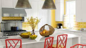 red and yellow kitchen cherry wood cabinets paint color dark brown