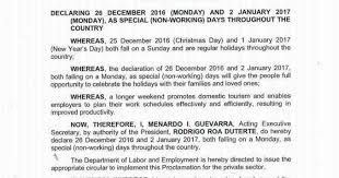 december 26 2016 and january 2 2017 in the philippines