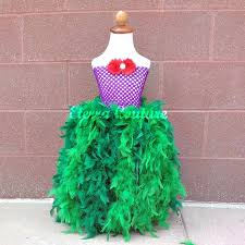 Mermaid Halloween Costume Toddler Mermaid Ariel Inspired Tutu Feather Dress Disney Mermaid
