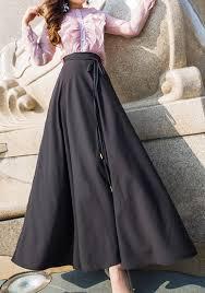 black draped bow belt high waisted below knee fashion maxi skirt